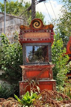 abandoned fortune telling machine (This is Evil's big secret, actually: When nobody pays attention to the truth anymore, it just decays and fades away like this machine. The secret is: That evil LIVES FOR lies, secrets and forgetfulness, in order to control The Story. THIS is its technology, its mode--HOW it functions in its grasping for power. THIS is what has been passed down in our culture--on racism, economics, sexual abuse and every kind of sickness of the spirit)