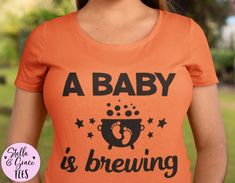 A Baby is Brewing Tshirt, Halloween Pregnancy Announcement, Halloween Baby Reveal, Fall Baby Reveal Shirt, Expecting Mom Shirt, Graphic Tee