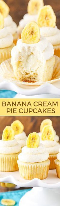 Banana Cream Pie Cupcakes - Banana cupcakes, cream pie filling and an amazing banana frosting with a special ingredient! Seriously to die for! Banana cupcakes with cream pie filling topped with banana frosting! Cupcake Recipes, Cupcake Cakes, Dessert Recipes, Cup Cakes, Pie Recipes, Peanut Recipes, Picnic Recipes, Cupcake Party, Kitchen Recipes