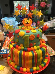 Cake 1st birthday circus choc mud colourful stars stripes and spots