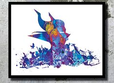Maleficent Sleeping Beauty Disney Watercolor by BogiArtPrint