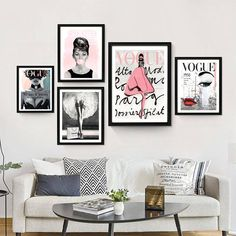 Vogue Posters - Fashion Wall Art - Chanel - Set Of 5 Fashion Prints - Printable - Audrey Hepburn - Home Decor - Gift For Her - Vogue 1950 Diy Fashion Decor, Fashion Wall Art, Fashion Prints, Fashion Design, Fashion Bedroom, Wall Art Designs, Wall Design, Design Room, Wall Art Sets