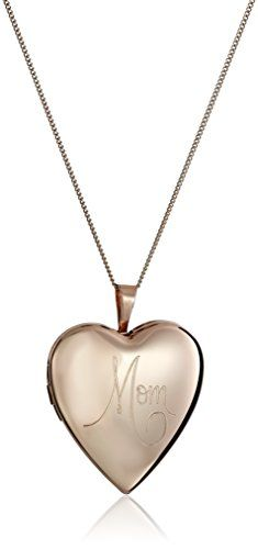 "Sterling Silver with Pink Gold Plating 20mm ""Mom"" Heart Pendant Locket Necklace, 18"" >>> Be sure to check out this awesome product."