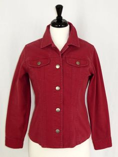Chico's Red Stretch Jean Jacket Snaps Embroidered Cuffs 0 XS 4 #Chicos #JeanJacket #Casual
