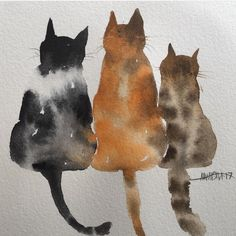 cat painting lose up of the cold birdies I posted earlier. Sometimes its hard to know how to present a painting on here! Props or no props Close up Watercolor Cat, Watercolor Animals, Cat Drawing, Painting & Drawing, Watercolor Paintings For Beginners, Animal Paintings, Cat Art, Painting Inspiration, Art Projects