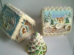 """Купить Пряничный домик """" Зимние пейзажи"""" - комбинированный, пряничный домик, новогодний подарок"""