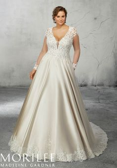 Reina Wedding Dress Pearl and Crystal Beaded, Alençon Lace Appliqués on Net on a Satin Ball Gown with Scalloped Hemline. Available in Three Lengths: Sizes – Colors: White/White, Ivory/Ivory, Ivory/Champagne Plus Size Bridal Dresses, Plus Size Wedding Gowns, Bridal Wedding Dresses, Wedding Dress Styles, Designer Wedding Dresses, Bridesmaid Dresses, Plus Size Brides, Modest Wedding, Elegant Wedding