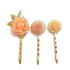Peach Hair Pins Flower Bobby Pins-Set of 3-Bridesmaid