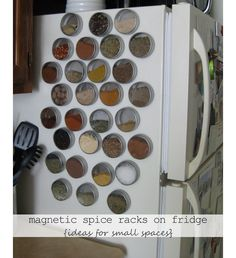 Use Magnetic Spice Racks on Your Refrigerator - DIY Ideas for Small Spaces - Click for 18 Small Space Tips