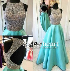 A-line Round Neck Sequin Backless Long Prom Dress, Evening Dress    Processing time: 15-18 business days  Shipping Time: 7-10 business days    Material: Satin  Shown Color: Green  Hemline: Floor-Length  Back Details: zipper  Built-In Bra: Yes    For Custom Size, Please leave following measurement...