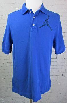 Nike Air #Jordan #Jumpman Blue Cotton Polo Shirt Large Logo Size Large #Nike #Polo