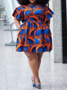 Ericdress Plus Size African Fashion Round Neck Above Knee Print A-Line Dress online shopping mall, buying fashion dresses & rapid delivery. Start your amazing deals with big discounts! Short African Dresses, Latest African Fashion Dresses, African Print Fashion, Short Dresses, Latest Fashion, Moda Afro, Ladies Day Dresses, Ankara Dress Styles, Look Plus Size