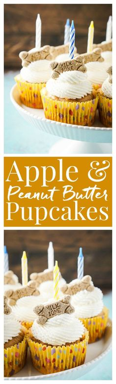 Dog And Puppies Diy Apple & Peanut Butter Pupcakes.Dog And Puppies Diy Apple & Peanut Butter Pupcakes Puppy Treats, Diy Dog Treats, Homemade Dog Treats, Dog Treat Recipes, Dog Food Recipes, Pupcake Recipe, Food Dog, Apple And Peanut Butter, Puppy Birthday