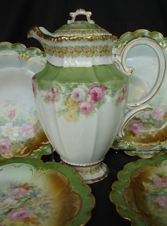 12 PC Set Antique Limoges Chocolate Pot Teapot w/ Pink Roses w/ Gold Trim Green - Chocolate pot was made by Bawo & Dotter, Elite Limoges France - French Porcelain Chocolate Pot - Also could use as a coffee pot