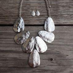 I love it!  Silver Necklace Set #accessories #women #covetme