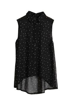 Dots Printed Black Chiffon Shirt