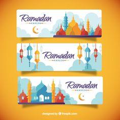 Цветные силуэты Рамадана баннеры Бесплатные векторы
