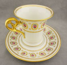 Limoges France Hand Painted Pink Roses Chocolate Cup Saucer L Bernardaud Co