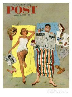 "Sonnenschutz?, ""Sunscreen?"", Titelbild der Saturday Evening Post, 16. August 1958 Giclée-Druck von Kurt Ard bei AllPosters.de"
