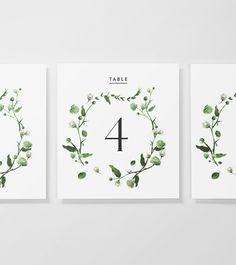 Venamour Viridian Floral Wreath Table Numbers