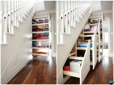 Under the Stairs Slide Out Drawers-20 Build-In Ideas to Use Space Under Stairs