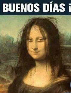 Mona Lisa before Coffee Comic Foto, Funny Images, Funny Pictures, Insta Memes, Videos Fun, Mona Lisa Parody, Spanish Jokes, Spanish 1, Monalisa