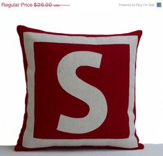Initial Pillow Covers Simple Decorative Pillowcase  Personalized And Monogrammed In Red White Design Decoration