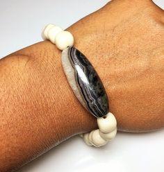 Mens Druzy Agate Bracelet, Mens Marble Bracelet, Mens Stretch Bracelet by DesignsByAlesia on Etsy