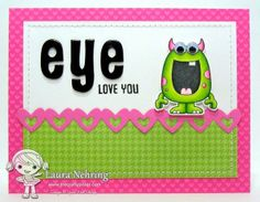 Your Next Stamp card by Laura using Silly Monsters, Must Have Borders Die Set One, Fast Food Sentiments