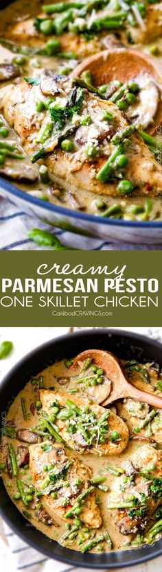 Creamy Parmesan Pesto Chicken Skillet - this is the BEST one skillet Chicken! the chicken is rubbed in pesto/Parmesan for amazing flavor and the sauce is the creamiest, most flavorful, all done in 30 minutes! I love mine with pasta, my husband loves his with potatoes!