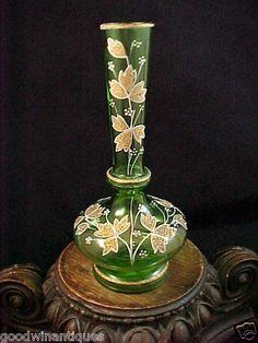 Antique Bohemian Moser Green Hand Painted Enamel Coralene Gold Art Glass Vase | eBay