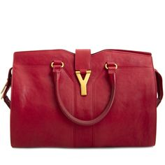 d04ff5509 Labellov Saint Laurent YSL Red Leather Medium Cabas Chyc Tote Bag ○ Buy and  Sell Authentic Luxury