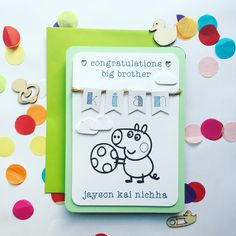 Handcrafted big brother card for a new family arrival, with peppa pig of course!