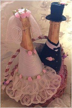 """Купить Свадебное шампанское """"Романтика"""" - декор шампанского, свадьба, подарок на свадьбу, лента атласная"""
