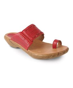 Take a look at this Red Janis Sandal by Kravings by Klogs on #zulily today! $49.99, regular 110.00.  PRODUCT DESCRIPTION: With a single toe loop, this sweet leather sandal is uniquely stylish. Featuring a wide stiched band and low profile heel, this slide promotes walking in fashionable comfort.   1'' heel Leather upper Leather lining Man-made sole Imported