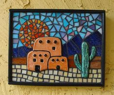 Native American Pueblo Mosaic - The pueblo and cactus are kiln fired tiles. The background is made from stained glass. It's grouted in black and framed with wooden dowels - Delphi Artist Gallery Mosaic Tile Art, Mosaic Glass, Glass Art, Mosaic Art Projects, Mosaic Crafts, Stained Glass Patterns, Mosaic Patterns, Glass Cactus, Mosaic Madness