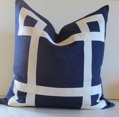 Navy Blue Cotton Pillow - 20 - 22 - 24 inch - Decorative Pillow - White Ribbon embellishment - euro sham - navy and white - made to order via Etsy
