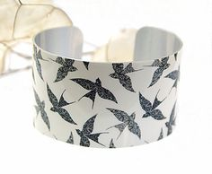 Cuff bracelet bird jewellery gift women's bangle by DeCumiDesigns, £17.50
