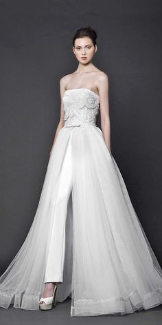 wedding pantsuit via tony ward bridal / http://www.deerpearlflowers.com/wedding-pantsuits-and-jumpsuits-for-brides/