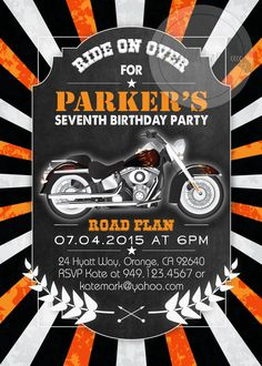 Harley Davidson Party Invitation 5x7 By Masonsmommydesigns 8 00