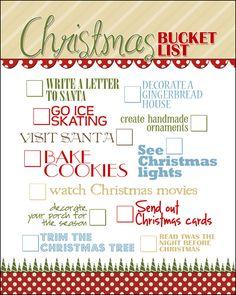 Christmas Bucket List FREE PRINTABLE howtonestforless.com/2012/11/21/christmas-subway-art-free-printable/#