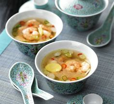Hot & sour broth with prawns  This is a gorgeous recipe!  Ingredients  3 tbsp rice vinegar or white wine vinegar  500ml chicken stock  1 tbsp soy sauce  1-2 tbsp golden caster sugar  thumb-size piece ginger , peeled and thinly sliced  2 small hot red chillies , thinly sliced  3 spring onions , thinly sliced  300g small raw peeled prawns , from a sustainable source  Whack in a pan!