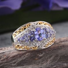 Tanzanite (Ovl 0.90 Ct), White Topaz Ring in 14K YG and Platinum Overlay Sterling Silver Nickel Free (Size 10.0) TGW 2.100 cts.