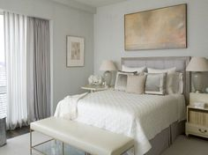 Silver and gray toned guest suite,