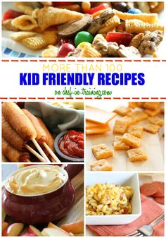 OVER 100 Kid Friendly Recipes at chef-in-training.com ...Breakfasts, dinners, desserts and after-school-snacks... This list is your one stop shop for kid approved recipes!