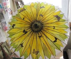 High Quality UMBRELLA~Sunflower With Purple Butterflies Theme Hand By ARTintersect