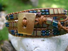 Like the 2 bead accent on the end  Three  wrap bracelet with  Miyuki Tila beads by CoolBeadCreations