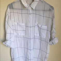 Sheer button down White sheer bottom down , throw on your favorite triangle bralette  and black skinnes for a casually cool look Tops Button Down Shirts