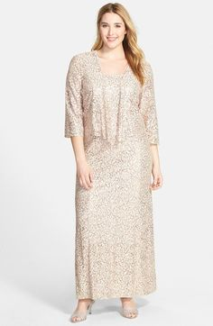 Alex Evenings Sequin Lace Gown & Jacket (Plus Size) available at #Nordstrom