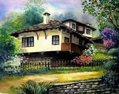Country Home ~ by Iovka Mechkarova Landscape Photos, Landscape Paintings, Landscapes, Pics Art, Turkish Art, Acrylic Painting Techniques, Building Art, House Drawing, Art And Architecture